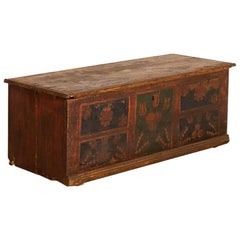 Antique Original Painted Flat Top Trunk with Hand Painted Flower Motif