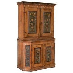 Antique Original Painted Swedish Cupboard Cabinet with Floral Panels