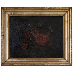 Antique Original Painting on Wood Board of Flower Bouquet