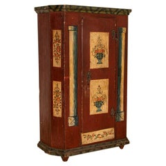 Antique Original Red Painted One Door Armoire Cabinet from Germany