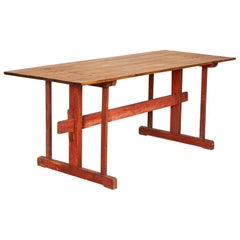 Antique Original Red Painted Swedish Farm Trestle Table