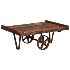 Antique Original Red Painted Work Cart Primitive Coffee Table