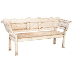 Antique Original White Painted Bench with Curved Arms
