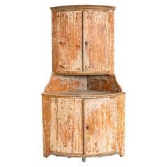 Antique Original White Painted Pine Corner Cabinet from Sweden