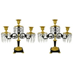 Antique Ormolu Bronze Dore Crystal Three Branch Candelabra French Lusters, Pair