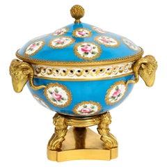 Antique Ormolu Mounted Bleu Celeste Sevres Porcelain Centrepiece, 19th Century