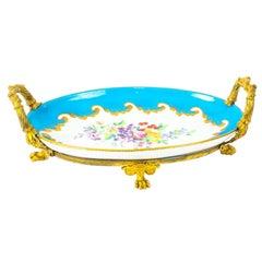 Ormolu Mounted Bleu Celeste Sevres Porcelain Oval Centrepiece, 19th Century