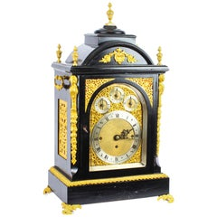 Antique Ormolu-Mounted Ebonized Gilt Bronze Chiming Bracket Clock, 19th Century