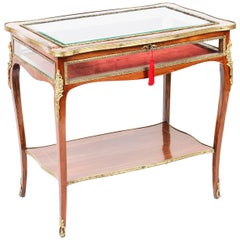 Antique Ormolu Mounted Marquetry Bijouterie Display Table, 19th Century