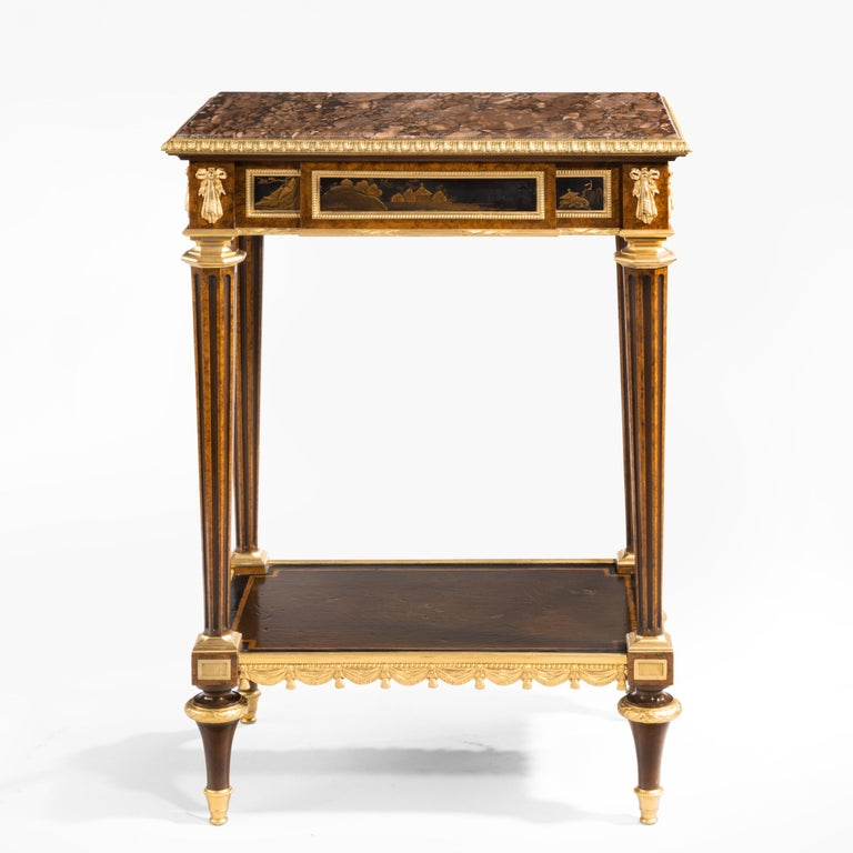 Antique Ormolu-Mounted Side Table in the Louis XVI Manner by Henry Dasson For Sale 5