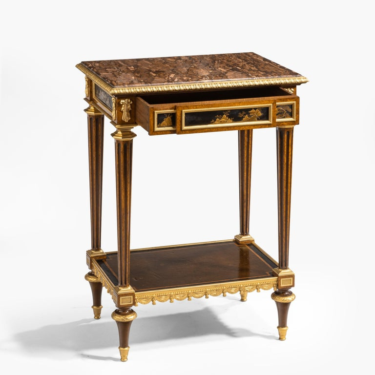 Antique Ormolu-Mounted Side Table in the Louis XVI Manner by Henry Dasson For Sale 11