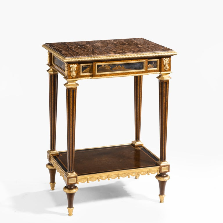 Gilt Antique Ormolu-Mounted Side Table in the Louis XVI Manner by Henry Dasson For Sale