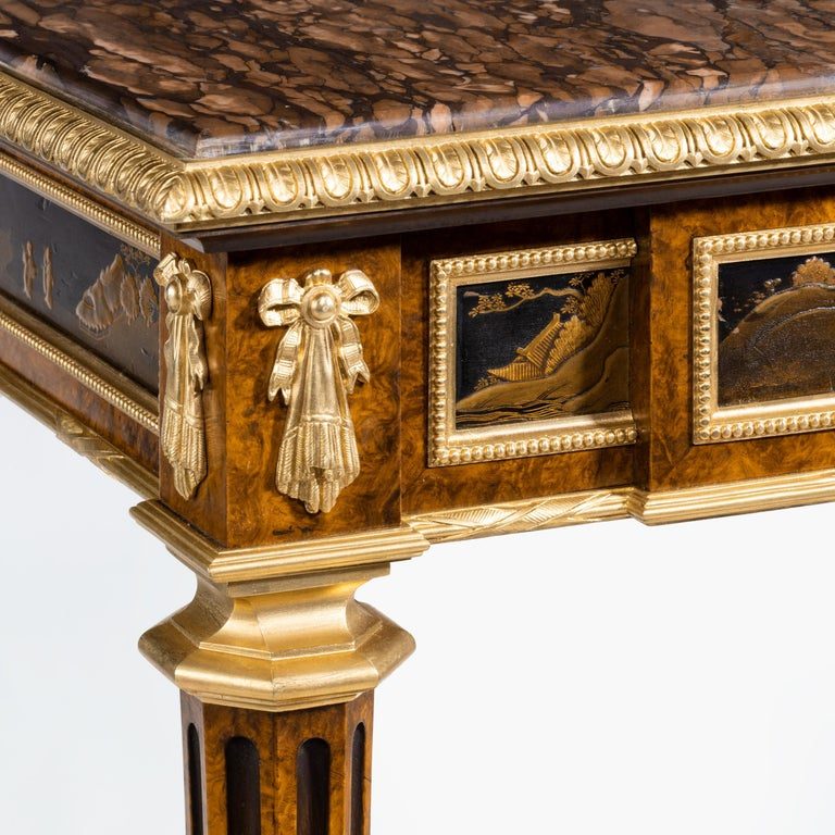 19th Century Antique Ormolu-Mounted Side Table in the Louis XVI Manner by Henry Dasson For Sale