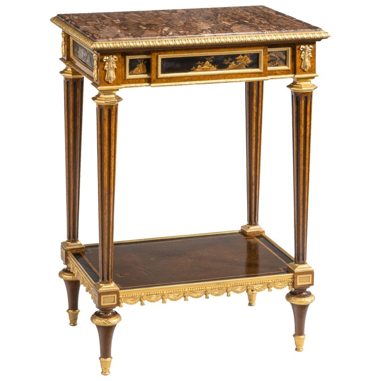 Antique Ormolu-Mounted Side Table in the Louis XVI Manner by Henry Dasson For Sale