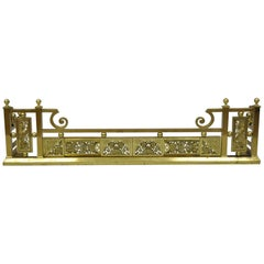 Antique Ornate Brass Victorian Aesthetic Movement Fireplace Mantle Fender
