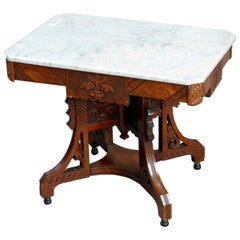 Antique Ornate Eastlake Carved Walnut, Burl & Marble Coffee Table, Circa 1890