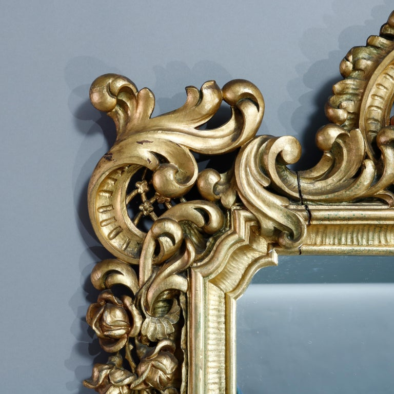 Antique Ornate French Louis XIV Style Giltwood Wall Mirror, Circa 1900 In Good Condition For Sale In Big Flats, NY