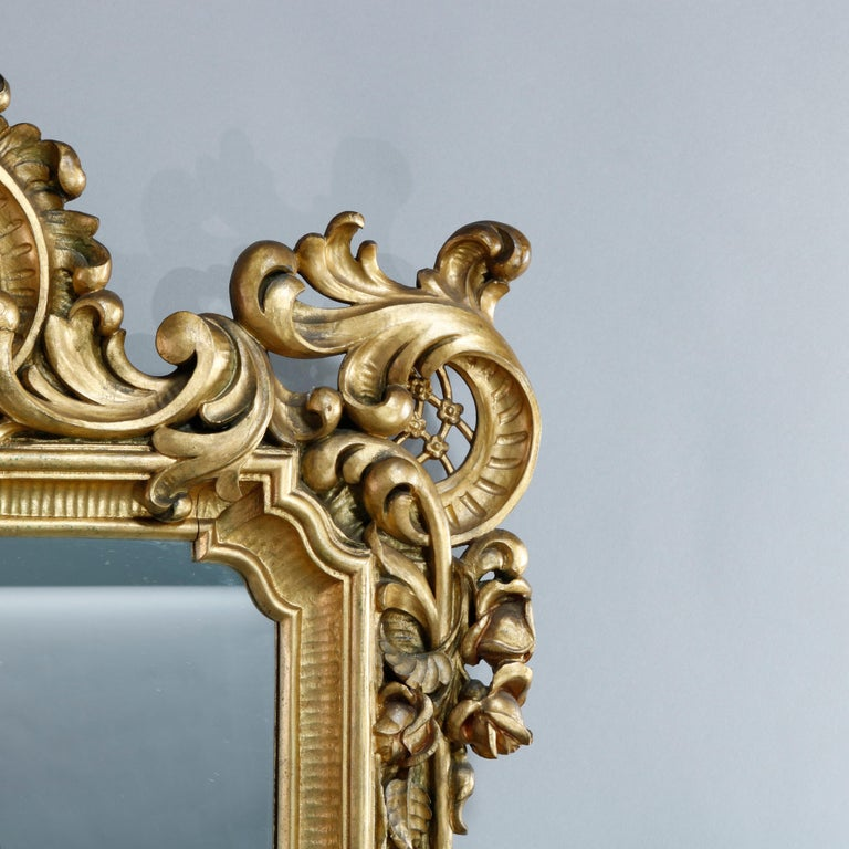 20th Century Antique Ornate French Louis XIV Style Giltwood Wall Mirror, Circa 1900 For Sale