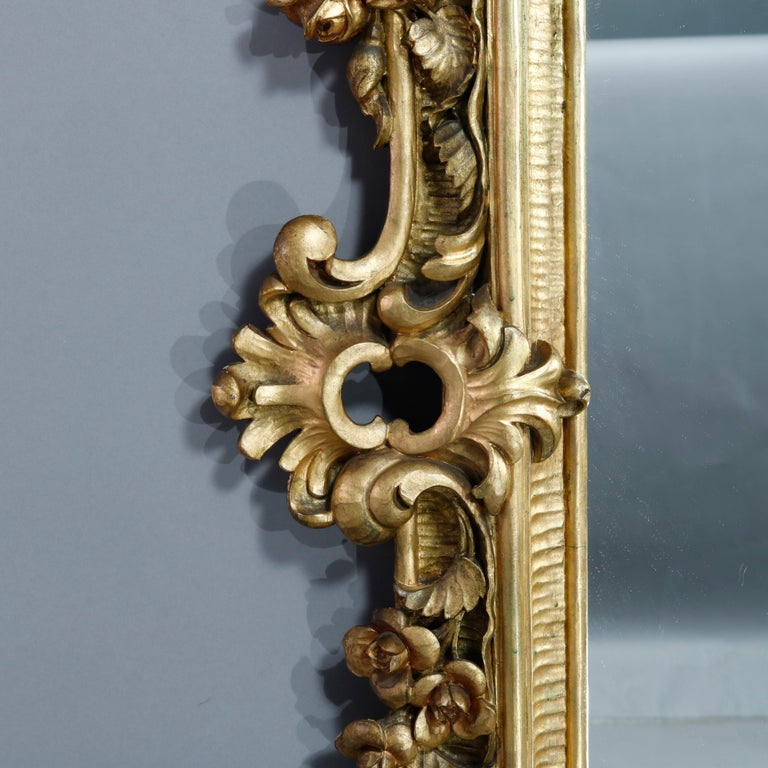 Antique Ornate French Louis XIV Style Giltwood Wall Mirror, Circa 1900 For Sale 1