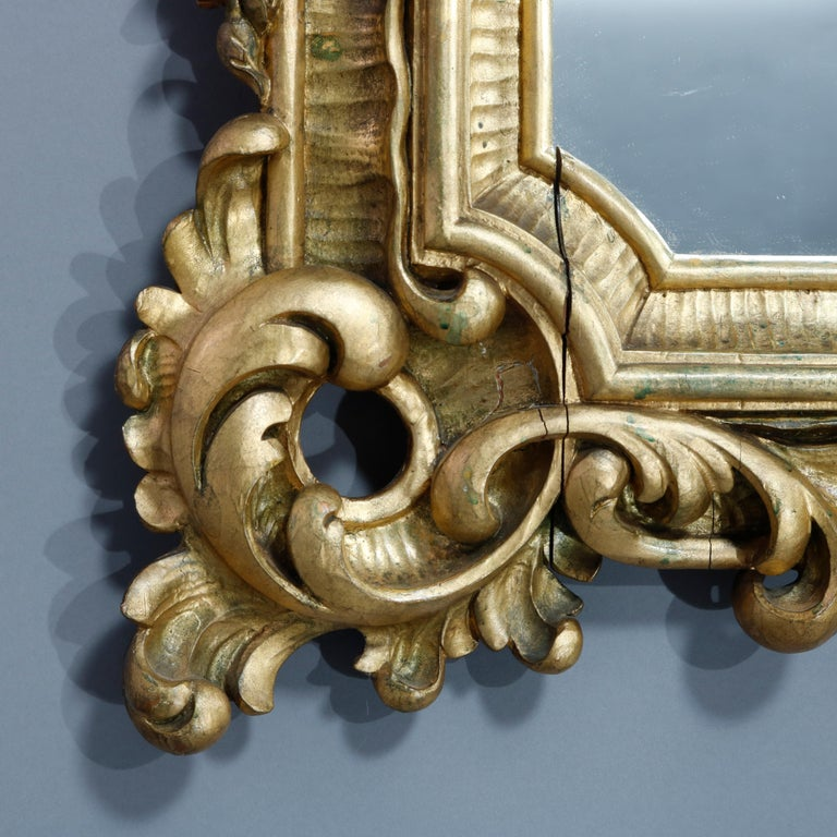 Antique Ornate French Louis XIV Style Giltwood Wall Mirror, Circa 1900 For Sale 2