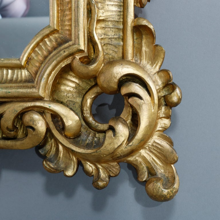 Antique Ornate French Louis XIV Style Giltwood Wall Mirror, Circa 1900 For Sale 3