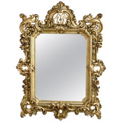 Antique Ornate French Louis XIV Style Giltwood Wall Mirror, Circa 1900