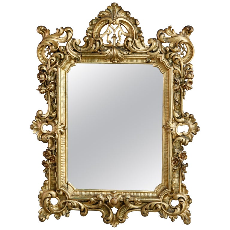 Antique Ornate French Louis XIV Style Giltwood Wall Mirror, Circa 1900 For Sale