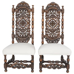 Antique Ornate French Side Chairs, a Pair