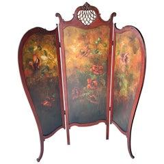 Antique Ornate Three-Panel Dressing Screen Art Nouveau
