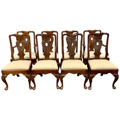 Antique Ornately Carved Mahogany Dining Chairs Set of Eight