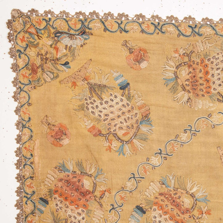Suzani Antique Ottoman Embroidery on Pashmina Wool Cloth, Mid-19th Century For Sale