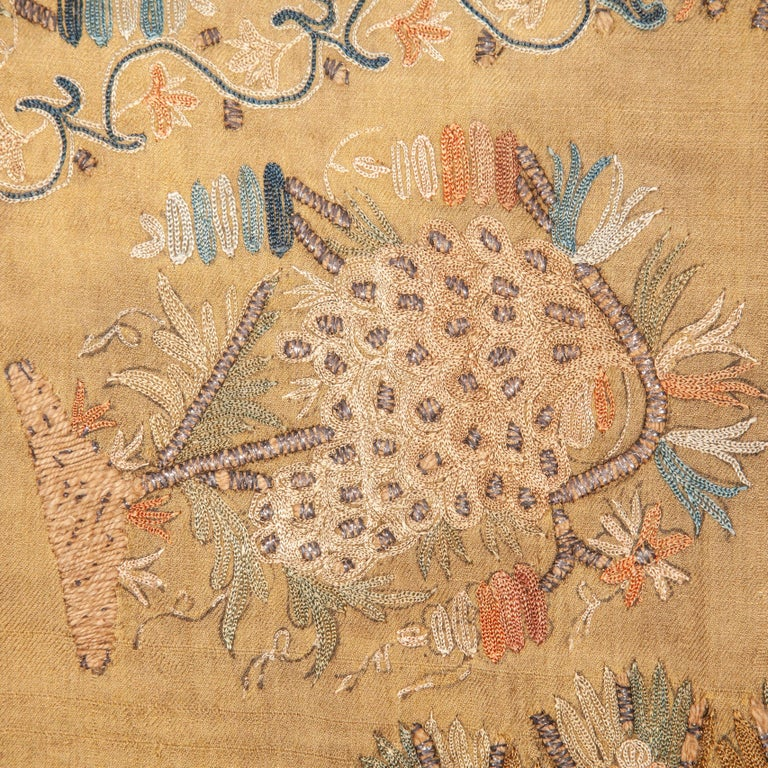 Turkish Antique Ottoman Embroidery on Pashmina Wool Cloth, Mid-19th Century For Sale