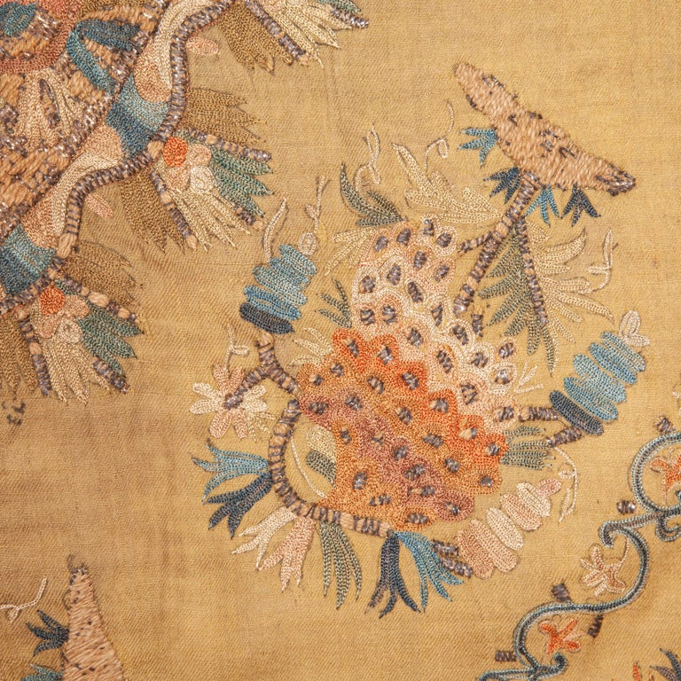 Embroidered Antique Ottoman Embroidery on Pashmina Wool Cloth, Mid-19th Century For Sale