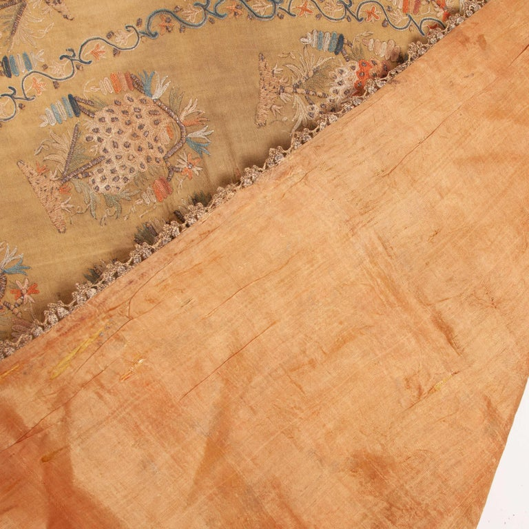 Silk Antique Ottoman Embroidery on Pashmina Wool Cloth, Mid-19th Century For Sale