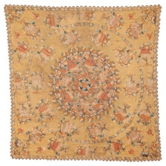 Antique Ottoman Embroidery on Pashmina Wool Cloth, Mid-19th Century