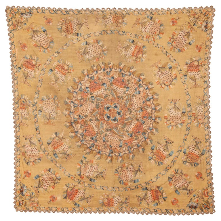 Antique Ottoman Embroidery on Pashmina Wool Cloth, Mid-19th Century For Sale