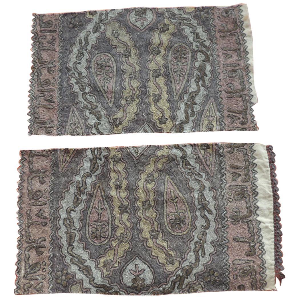 Antique Ottoman Empire Embroidery Tughra Textile Fragments