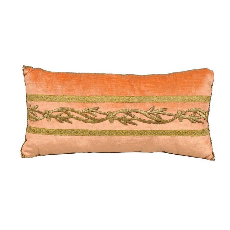 Antique Ottoman Empire Raised Gold Metallic Embroidery on Melon Velvet Pillow