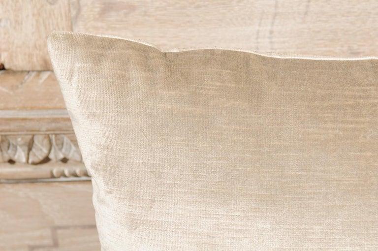 Antique Ottoman Empire Raised Gold Metallic Embroidery on Silver Velvet Pillows For Sale 4