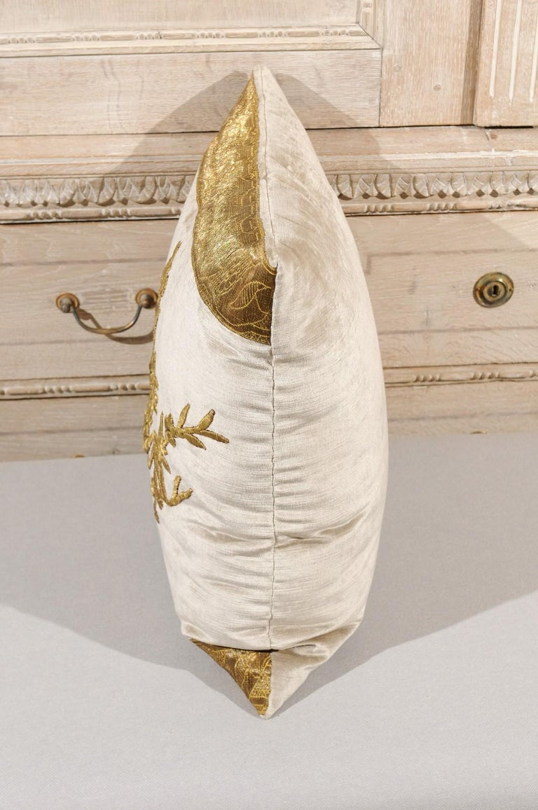 Antique Ottoman Empire Raised Gold Metallic Embroidery on Silver Velvet Pillows For Sale 5