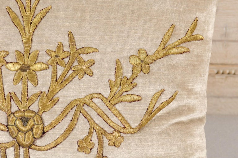 Antique Ottoman Empire Raised Gold Metallic Embroidery on Silver Velvet Pillows For Sale 6