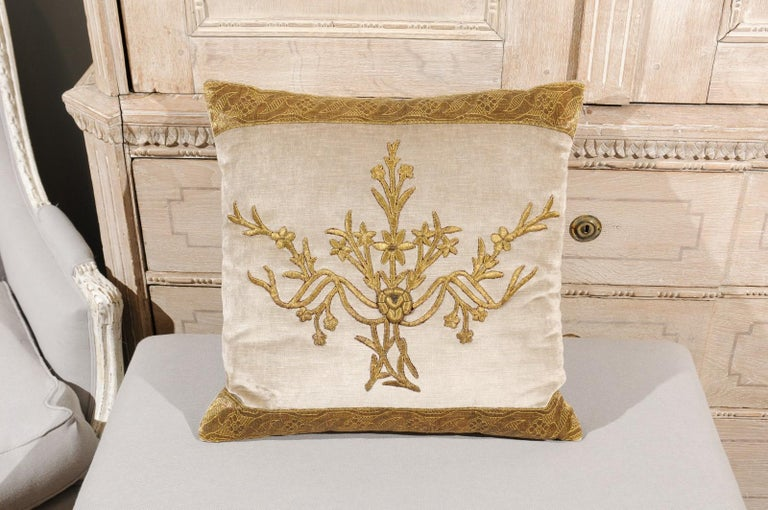 American Antique Ottoman Empire Raised Gold Metallic Embroidery on Silver Velvet Pillows For Sale