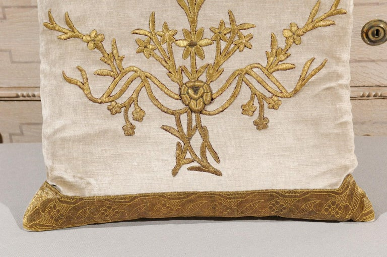 Embroidered Antique Ottoman Empire Raised Gold Metallic Embroidery on Silver Velvet Pillows For Sale