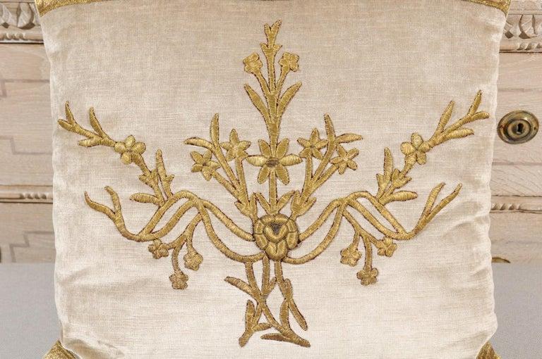 Antique Ottoman Empire Raised Gold Metallic Embroidery on Silver Velvet Pillows In Good Condition For Sale In Atlanta, GA