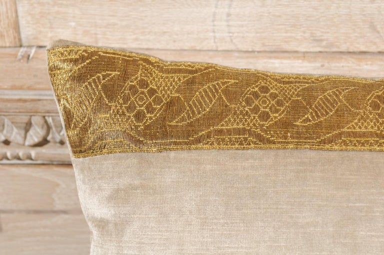 Contemporary Antique Ottoman Empire Raised Gold Metallic Embroidery on Silver Velvet Pillows For Sale