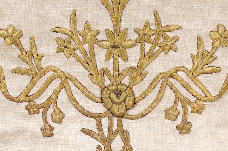 Antique Ottoman Empire Raised Gold Metallic Embroidery on Silver Velvet Pillows For Sale 1
