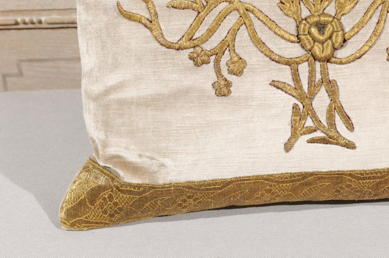 Antique Ottoman Empire Raised Gold Metallic Embroidery on Silver Velvet Pillows For Sale 2