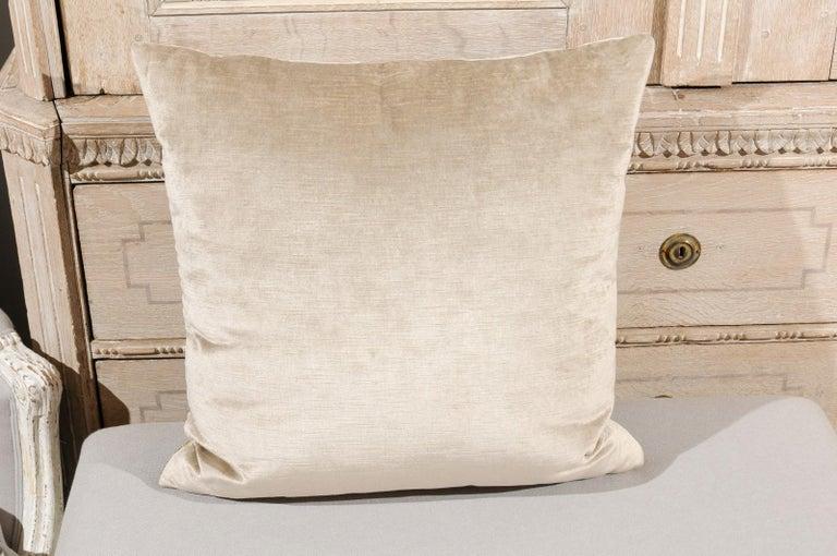 Antique Ottoman Empire Raised Gold Metallic Embroidery on Silver Velvet Pillows For Sale 3