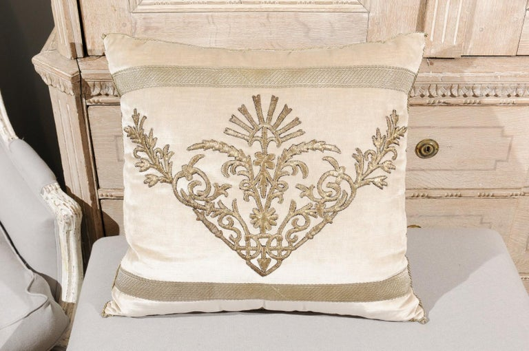 Antique Ottoman Empire Raised Silver Metallic Embroidery on Oyster Velvet Pillow For Sale 7