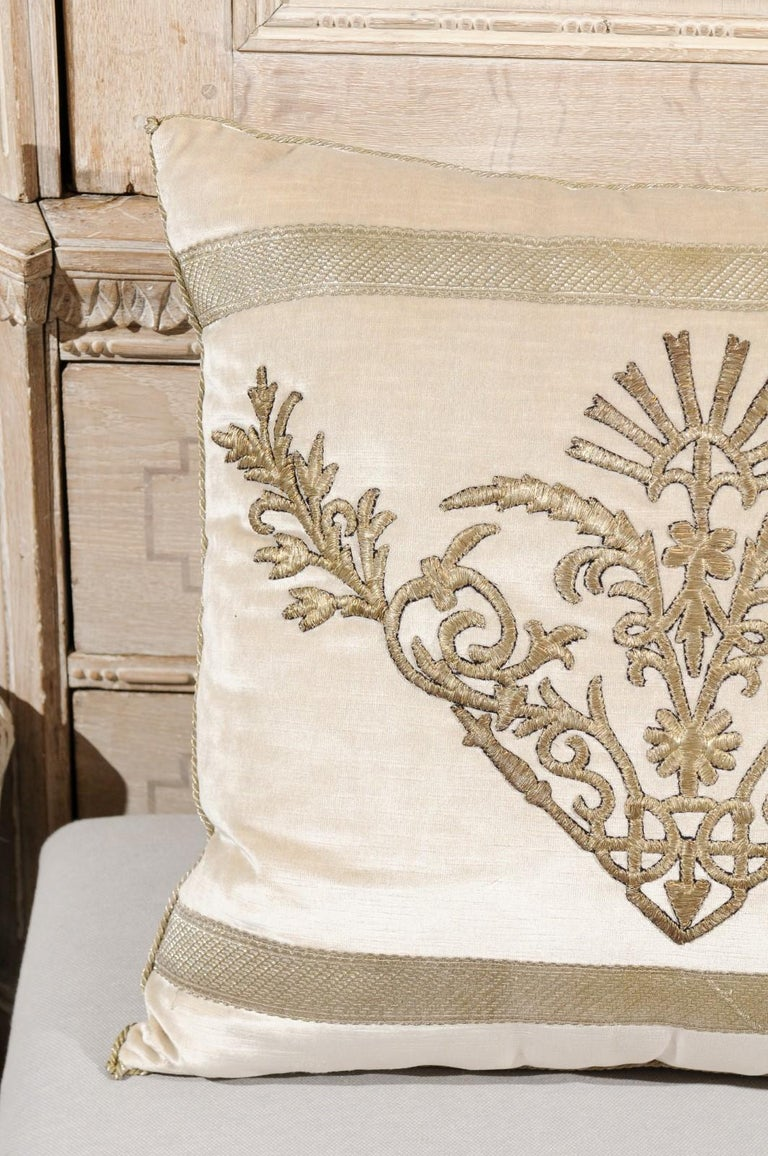 Antique Ottoman Empire Raised Silver Metallic Embroidery on Oyster Velvet Pillow For Sale 9